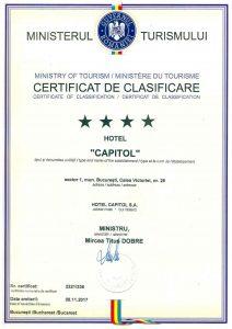 Certificat de clasificare Hotel Capitol